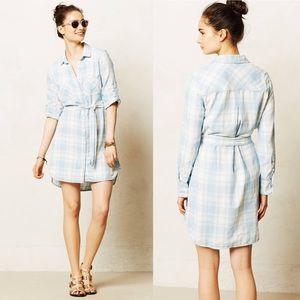 Cloth & Stone Checkered Plaid Chambray Shirt Dress